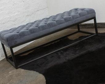 Hana Velvet Deep Buttoned Grey Velvet and Box Section Pipe Bench/Footstool