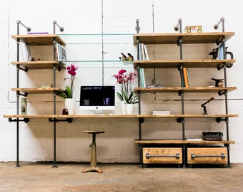Hannah Reclaimed Scaffolding Boards, Dark Steel Pipe and Toughened Glass Industrial Desk and Shelves - Bespoke Furniture by urbangrain.co.uk