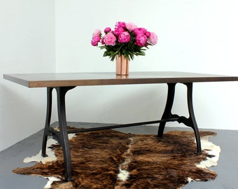 Penna Industrial Patinated Bronzed Copper Topped Table with reproduction vintage reclaimed steel workbench legs - www.urbangrain.co.uk