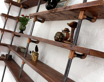 Niko Floor and Wall Mounted Mitred Corner Shelving made with Reclaimed Scaffolding Boards, Dark Steel Pipe and Bronze Threaded Fittings