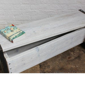Joanna Reclaimed Grey Washed Scaffolding Board Low Bench With Etsy