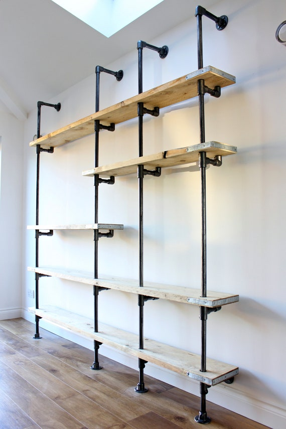 Wesley Scaffolding Boards And Dark Steel Pipe Wall Mounted And Etsy