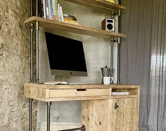 Mason Reclaimed Scaffolding Board and Steel Pipe Desk and Storage System/Bookshelves/Bespoke Furniture www.urbangrain.co.uk