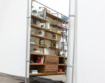 Kucera Full Length Galvanised Steel Pipe Framed Mirror - Designed and made to order Furniture and Accessories by www.urbangrain.co.uk