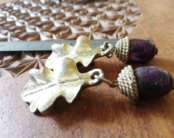 Vintage French oak leaf and acorn drop earrings