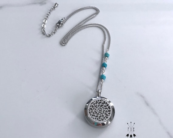 Turquoise & Stainless Steel Aromatherapy Locket - Essential Oil Diffuser Necklace
