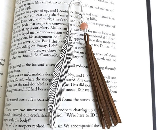 Aromatherapy Bookmark with Moonstone - Silver Feather Bookmark for Diffusing Essential Oils