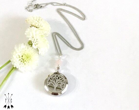 Tree of Life Aromatherapy Locket - Essential Oil Diffuser Necklace with Gemstone