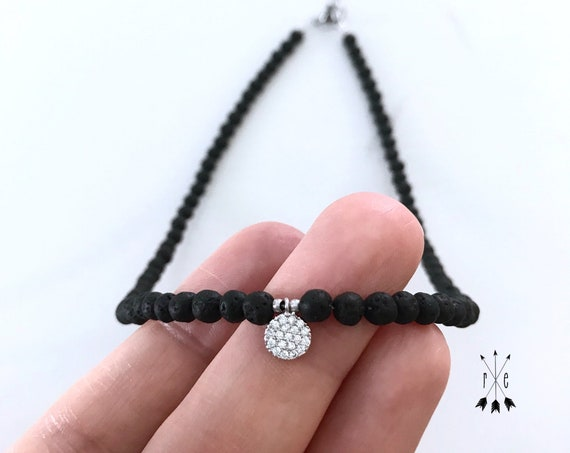 Micro Pave CZ on Mini Lava Stone Choker Necklace