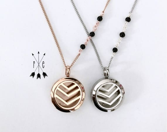 Black Onyx Aromatherapy Locket in Rose Gold or Stainless Steel - Essential Oil Diffuser Necklace