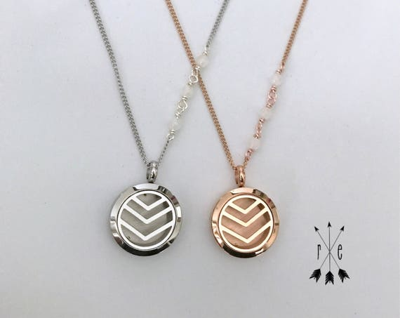 Moonstone Aromatherapy Locket in Rose Gold or Stainless Steel; Essential Oil Diffuser Necklace; Chevron Diffuser Locket with Moonstone
