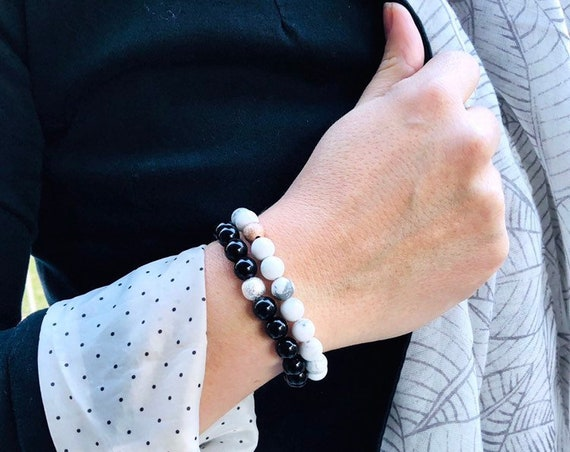 Aromatherapy Diffuser Lava Stone Bracelet - White Howlite and Rose Gold Stardust Bead or Onyx and Silver Stardust Bead