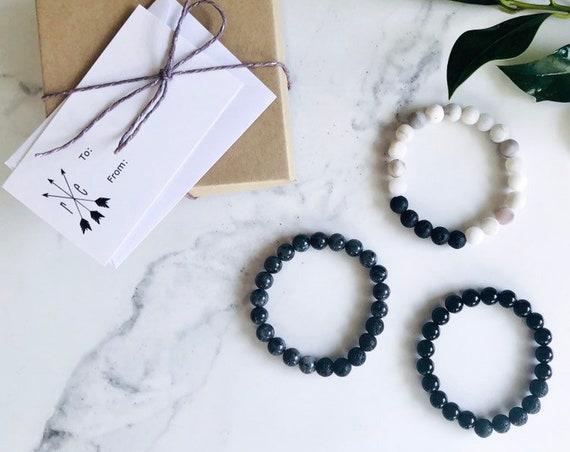 Black Onyx & Lava Stone Bracelet - Lava Stone Diffuser Beaded Bracelet - Aromatherapy Diffuser Mala Bracelet