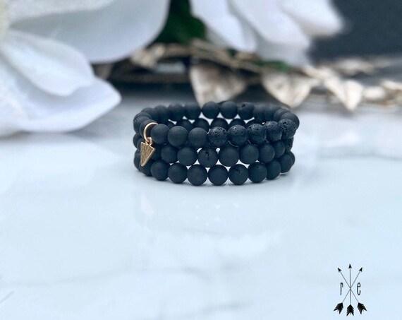 Blackened Luster Druzy Aromatherapy Bracelet - Gold Plated Arrowhead Charm Lava Stone Diffuser Bracelets - Lava Beaded Bracelets
