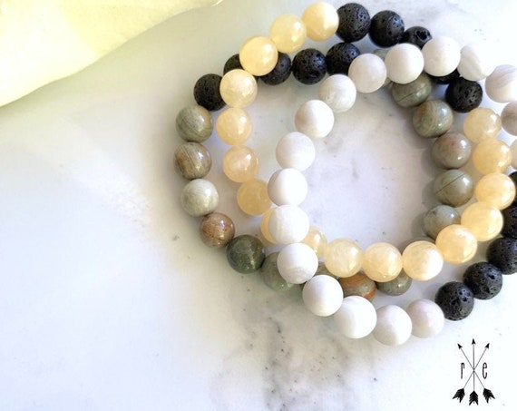 Gemstone Stack Set - Lava Stone Diffuser Bracelets - Silver Mist Jasper, Yellow Calcite & White Lace Agate