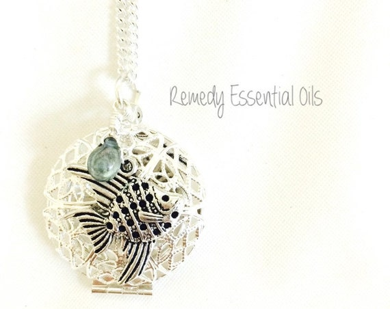 Silver Aromatherapy Diffuser Necklace; Fish Charm & Wire Wrapped Czech Glass Drop Bead; Essential Oils