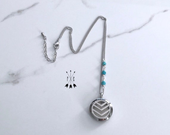 Turquoise Diffuser Locket - Stainless Steel or Rose Gold Aromatherapy Necklace