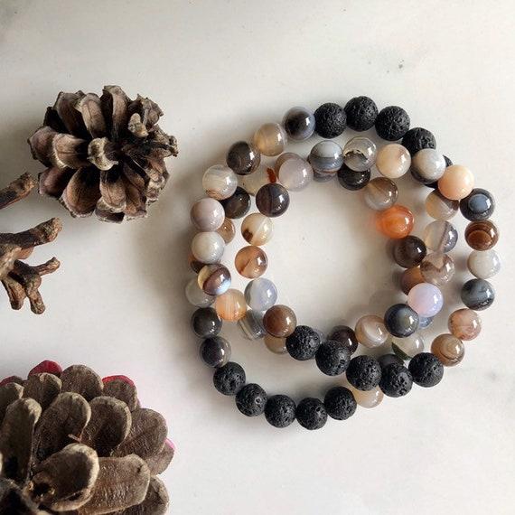 Dark Agate & Lava Bracelet - Lava Stone Aromatherapy Diffuser Bracelets - Mala Bracelets