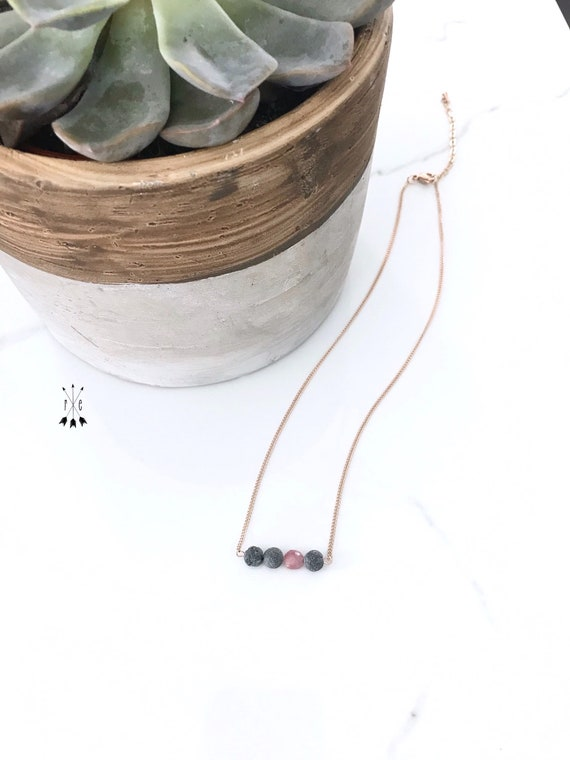 Pink Tourmaline & Unwaxed Lava Stone Choker Necklace - Rose Gold or Stainless Steel