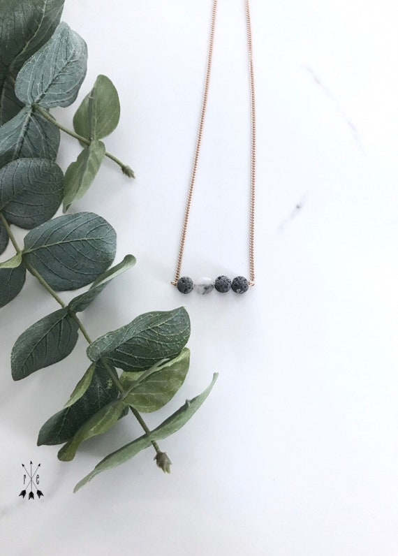Matte Tourmalinated Quartz & Raw Lava Bar; Lava Choker Necklace; Rose Gold or Stainless Steel; Aromatherapy Diffuser Necklace; Unwaxed Lava