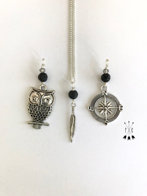 Owl, Compass or Feather & Lava Diffuser Necklace; Swarovski Crystal and Lava Stone Necklace; Essential Oil Diffuser Necklace; Aromatherapy