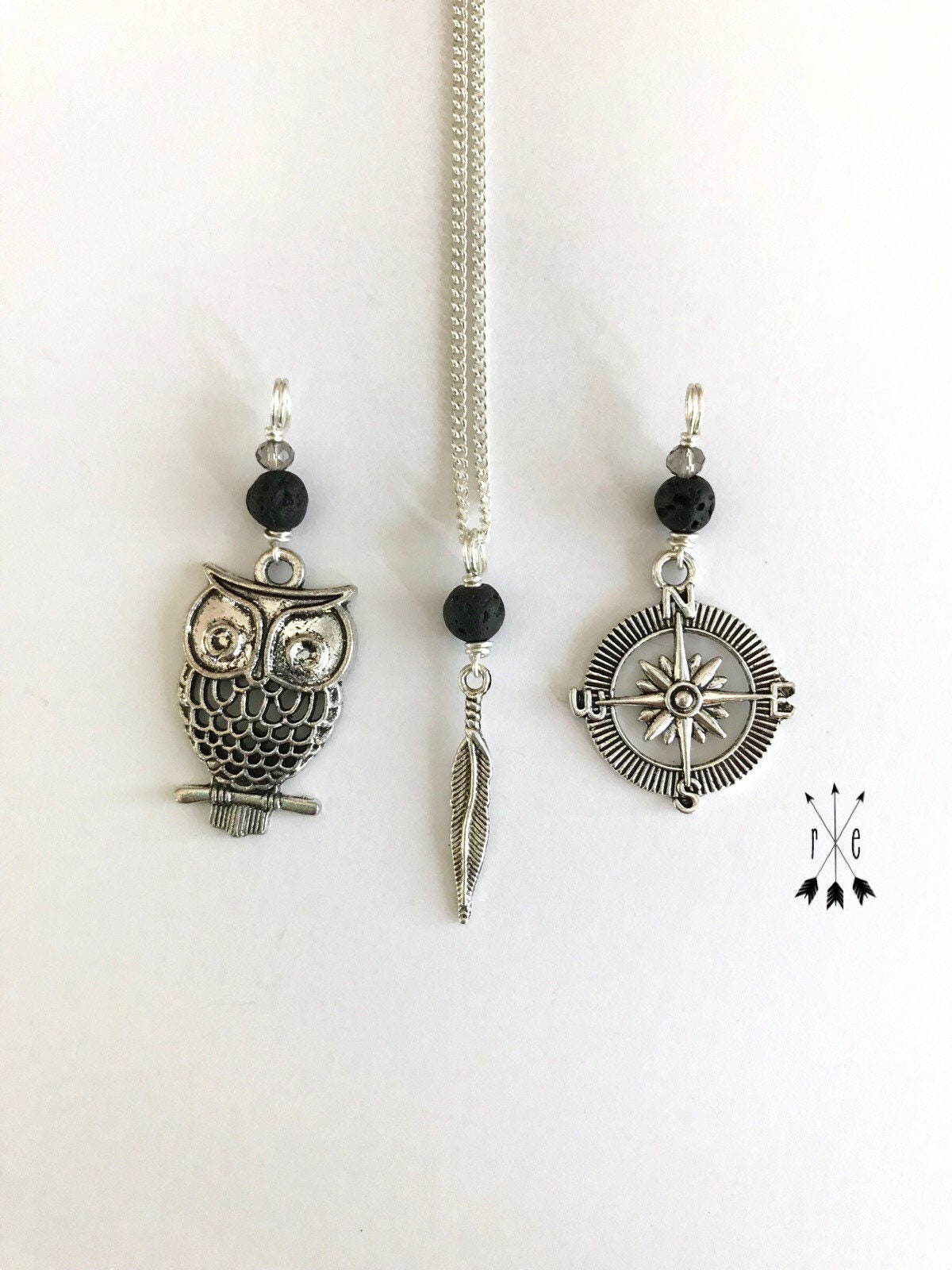 ef8745e033391b Owl, Compass or Feather & Lava Diffuser Necklace; Swarovski Crystal ...