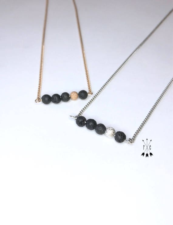Lava Stone Choker with Stardust Bead; Rose Gold or Silver; Aromatherapy Necklace; Lava Diffuser Necklace