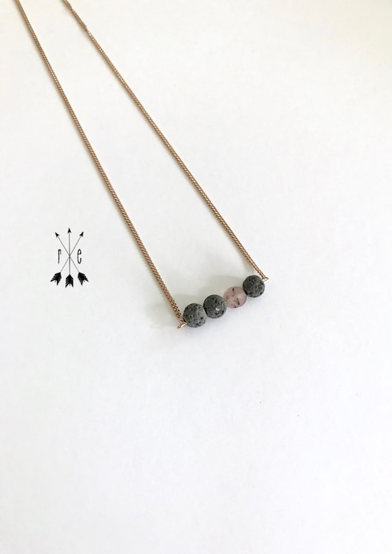Matte Strawberry Quartz & Lava Stone Choker Necklace - Lava Bar Necklace - Rose Gold or Stainless Steel - Aromatherapy Diffuser Necklace