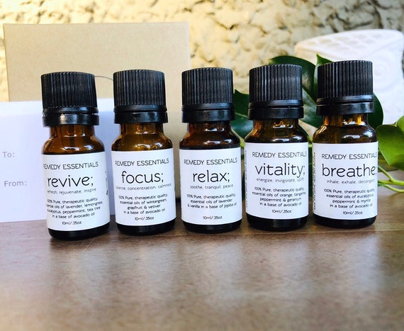 Essential Oil Blends 10ml - Focus (anti-stress/anxiety, grounding) Vitality (energizing) Revive (rejuvenating) Relax (soothing) Breathe