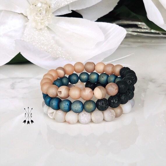 Druzy Gemstone Beaded Bracelet Stack - Lava Mala Bracelet