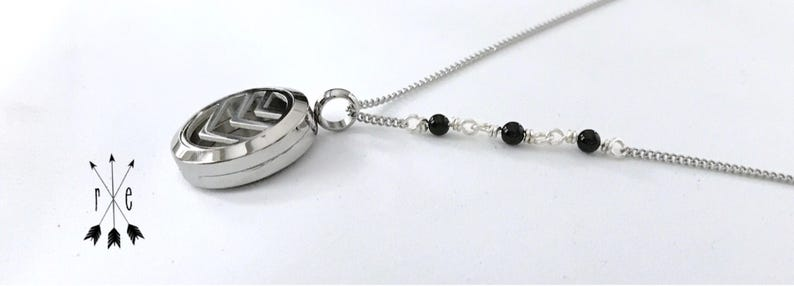 Essential Oil Diffuser Necklace Black Onyx Aromatherapy Locket in Rose Gold or Stainless Steel