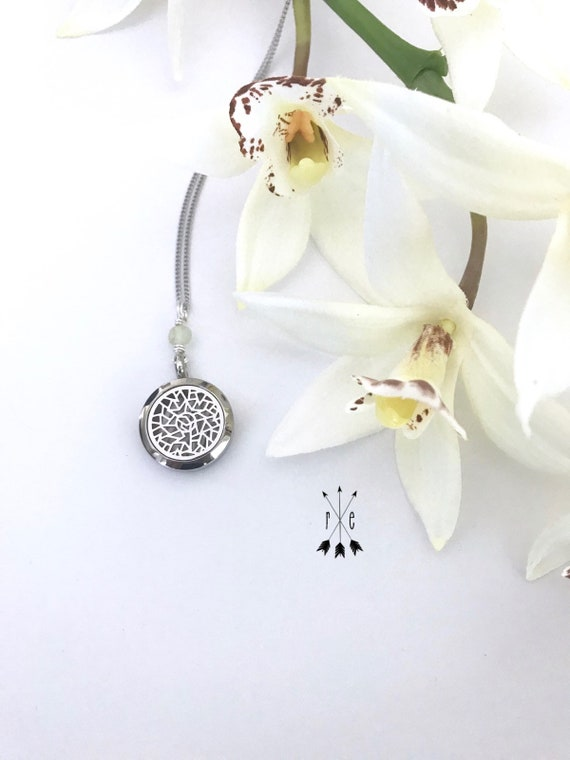 Jade and Stainless Steel Aromatherapy Locket - Essential Oil Diffuser Necklace