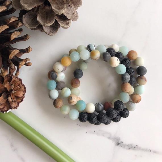 Lava Diffuser Bracelet - Amazonite & Lava Stone Mala Bracelet - Aromatherapy Gemstone Beaded Bracelet