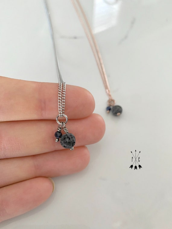 Mini Sapphire and Lava Stone Minimalist Necklace - Rose Gold or Stainless Steel Diffuser Necklace