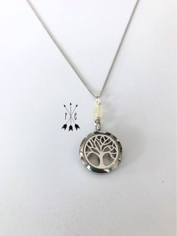 Quartz with Stainless Steel Diffuser Locket; Aromatherapy Diffuser; Tree of Life, Chevron Pattern, or Mosaic Design; Essential Oil Diffuser
