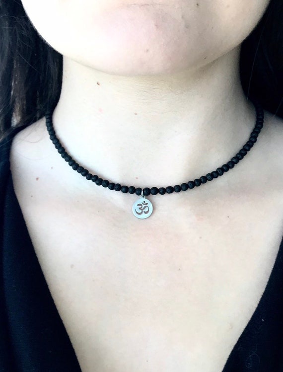 Ohm & Lava Stone Choker Necklace; Aromatherapy Necklace for Essential Oils; Yoga Necklace; Stainless Steel Ohm Charm
