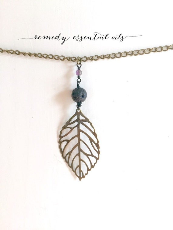 Essential Oil Lava Stone Diffuser Necklace; Wire Wrapped Bronze Leaf Charm & Gemstone; Aromatherapy Jewelry; Diffuser; Jade; Amethyst