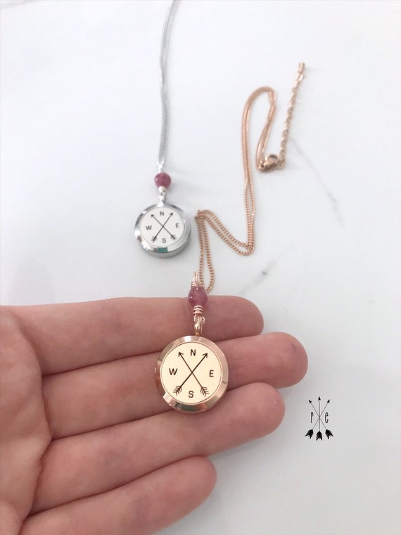 Pink Tourmaline Compass and Arrows Diffuser Locket -  Stainless Steel or Rose Gold Aromatherapy Necklace