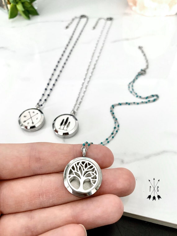 Stainless Steel Aromatherapy Locket - Essential Oil Necklace
