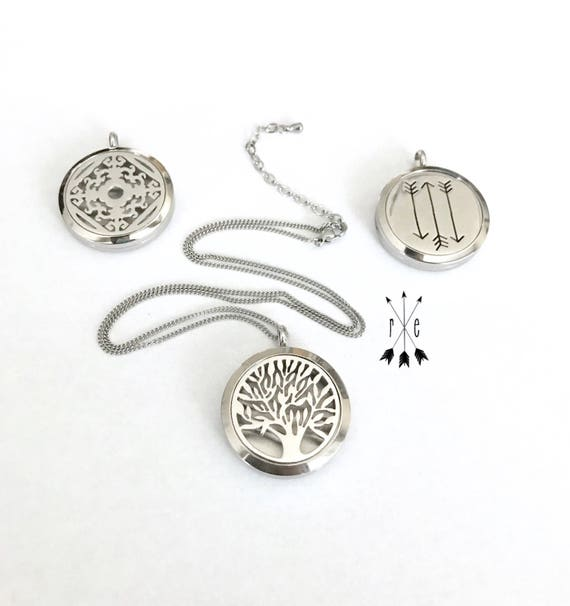 Stainless Steel Aromatherapy Necklace; Arrows, Tree of Life, or Design Locket; Essential Oil Necklace