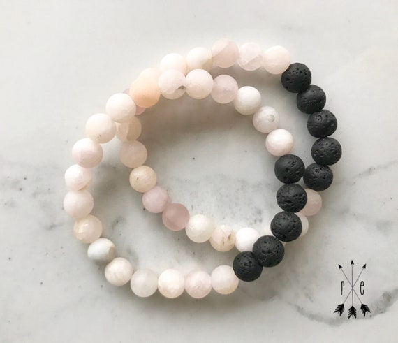 Yellow Rose Quartz and Lava Aromatherapy Bracelet - Essential Oil Diffuser Bracelets - Gemstone BeadedMala Bracelets