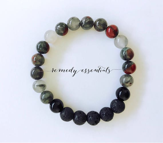 Men's Essential Oil Diffuser Bracelet - Aromatherapy Beaded Bracelet - Onyx or Africian Bloodstone & Lava Stones