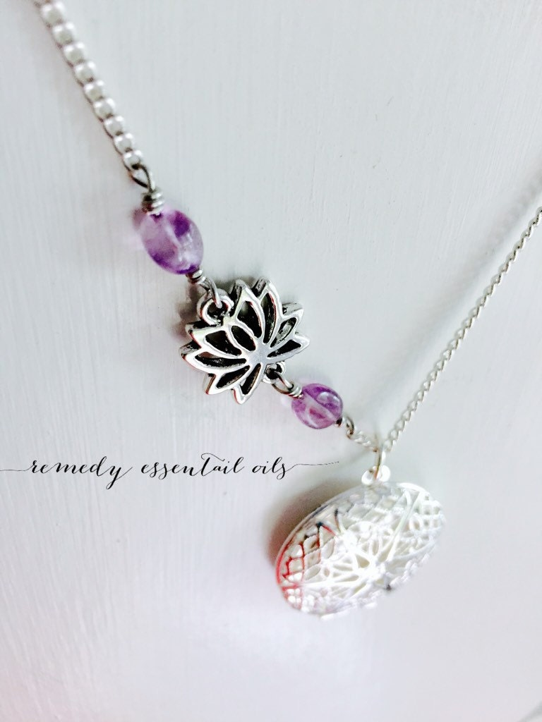 Diffuser Necklace Amethyst Lotus Flower Connecter Aromatherapy
