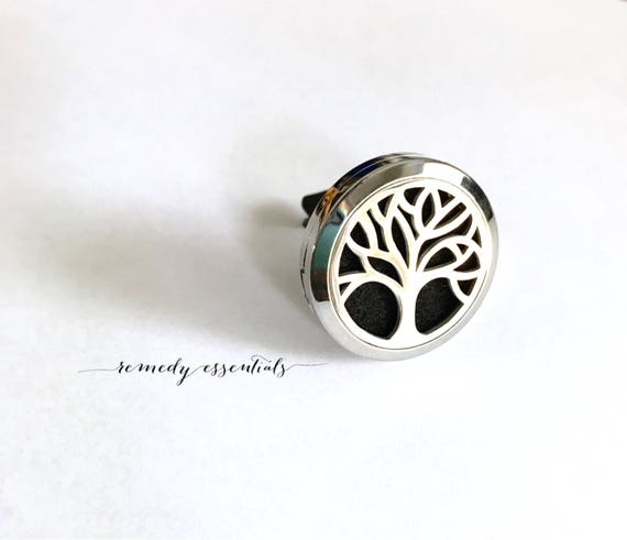Tree of Life Stainless Steel Car Diffuser - Aromatherapy Vehicle Diffuser Vent Clip Diffuser