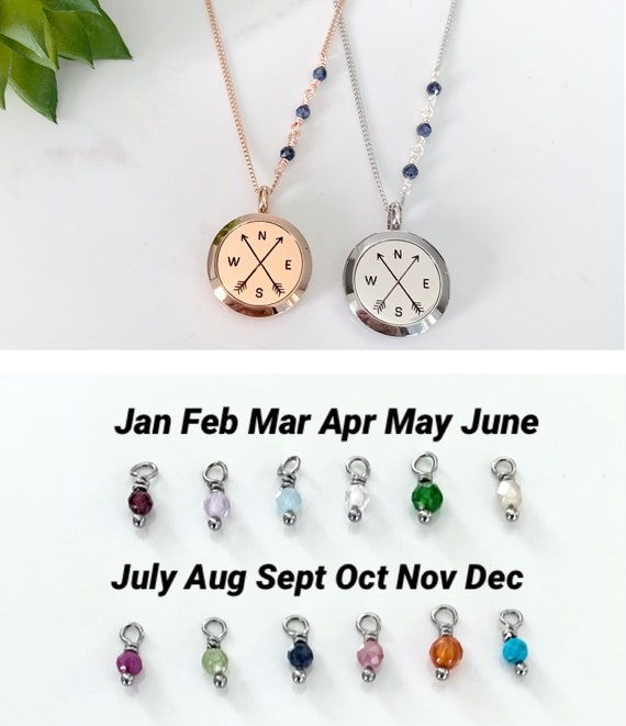 Birthstone Locket Necklace - Rose Gold or Stainless Steel - Essential Oil Diffuser Jewelry