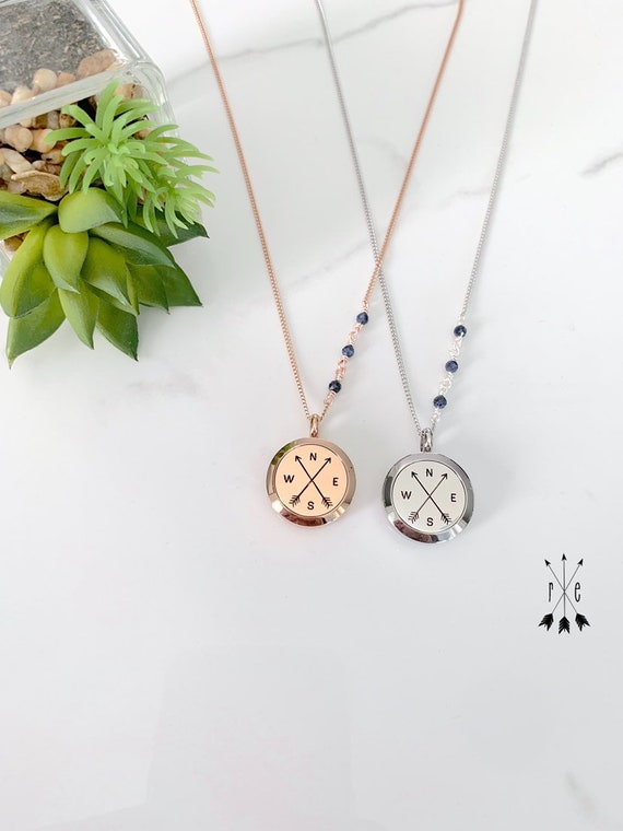 Rose Gold Compass Locket with Blue Sapphire Chain Detail - Aromatherapy Necklace - Essential Oil Diffuser Pendant
