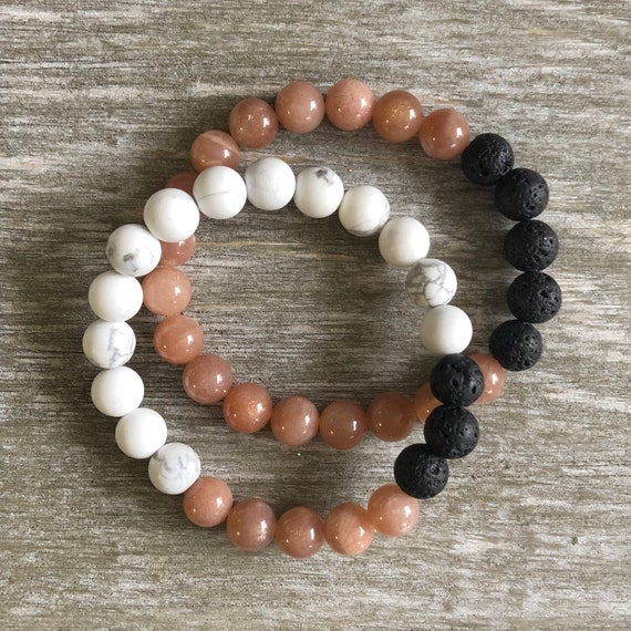 Peach Moonstone & White Howlite Lava Bracelets - Aromatherapy Stacking Bracelets - Essential Oil Diffuser Bracelet - Mala