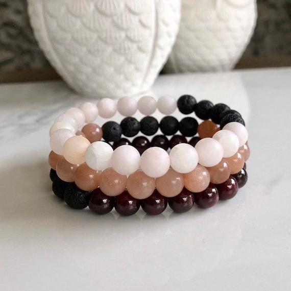 Gemstone Stack Set - Lava Stone Diffuser Bracelets - Garnet, Matte Yellow Rose Quartz & Peach Moonstone