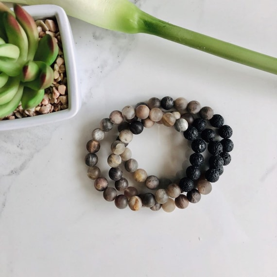 Moonstone Aromatherapy Bracelet - Lava Stone Diffuser Bracelets - Gemstone Beaded Stacker Bracelets