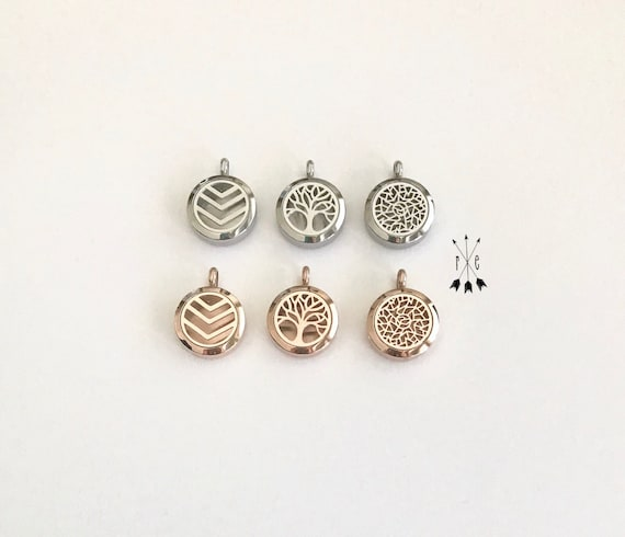 Stainless Steel or Rose Gold Diffuser Locket - 20mm Locket Essential Oil Necklace